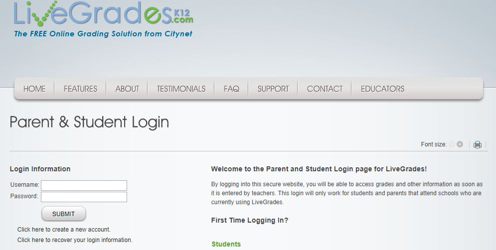 livegrades student login