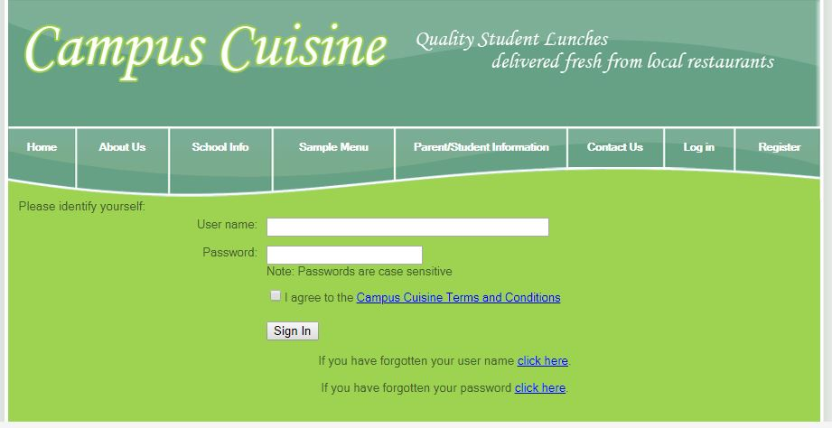 campus cuisine login